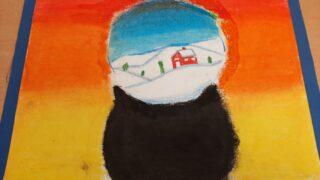 esfera de nieve (contraste de colores fríos y cálidos)